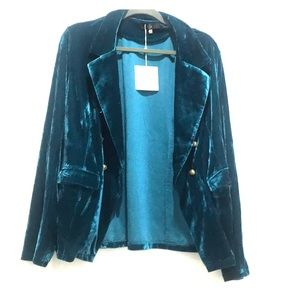 Teal jewel tone military Jacket